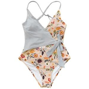 New! CUPSHE Med Floral Stripe Faux Wrap Swimsuit